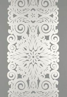 FSchumacher Wallpaper 5003200 Graphic Panel Stripe Smoky Silver
