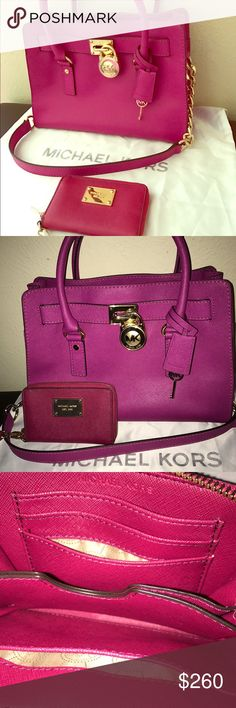 Michael Kors Matchig Purse and Wallet Authentic Michael Kors Hamilton Fuchsia Saffiano Leather with golden hardware and matching Wallet Fuchsia Saffiano Leather. Purse used twice. Wallet used for 1 month. Excellent conditions! Michael Kors Bags Satchels