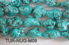 Imitation Turquoise - dyed, crazed magnesite nuggets