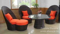 Fie că vorbim de mobilă pentru dormitor sau pentru living sau de mobilier pentru grădină, mobila din ratan oferă numeroase posibilităţi şi variante Rattan Furniture, Outdoor Furniture Sets, Outdoor Decor, Living, Home Decor, Decoration Home, Cane Furniture, Room Decor, Home Interior Design