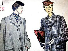 Vintage Women's 1940's Coat Pattern view on Etsy by PatternsFromThePast