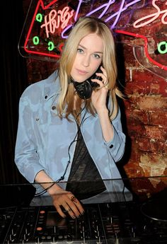 Mary Charteris spinning at the Tommy Hilfiger cocktail during London Collections: Men