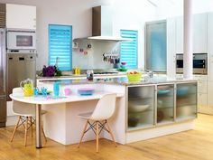 Modern kitchen design ideas for small kitchens; Kitchen Shutters, Interior Shutters, Blue Shutters, Best Kitchen Designs, Modern Kitchen Design, Open Plan Kitchen Diner, Nice Kitchen, Kitchen Ideas, Modern Kitchens