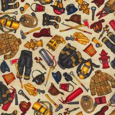 RJR ALL FIRED UP FIRE BADGES TAN COTTON FABRIC BTY