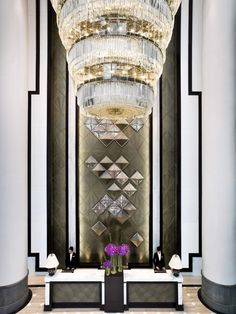 Glamorous hotel lobby with an art deco flair