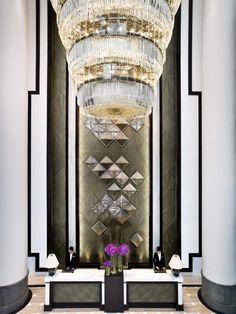 Glamorous hotel lobby with an art deco flair