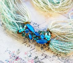 Vintage Beaded Necklace, Blue Clear Glass Seed Beads, Rhinestones / Crystals, Multi Strand Choker, 1940s Retro Jewelry. $179.00, via Etsy.