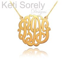 Monogram Necklace - Personalized Initials Necklace (Order Any Initials)  24k Gold and Sterling Silver