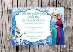Personalised Frozen invitation $1.00 each printed, laminated, magnet & enveloped or digital file available for purchase. Frozen Invitations, Little Cakes, Vinyl Designs, Rsvp, Envelope, Printed, Digital, Fun, Envelopes
