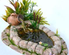 Dollhouse Miniature Garden, Pond, Dollhouse Garden Pond. Fairy Garden Koi Pond with Flowers, Miniature Garden Pond.