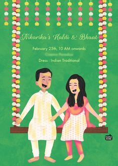 Custom illustrated wedding invitations, unique to each couple, designed by Mithila Ananth Illustrated Wedding Invitations, Indian Wedding Invitation Cards, Wedding Invitation Card Design, Creative Wedding Invitations, Custom Invitations, Wedding Cards, Wedding Stuff, Indian Illustration, Couple Illustration