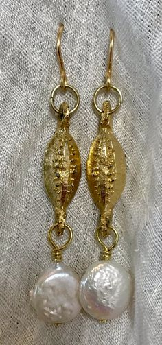 Pearl White, Drop Earrings, Pearls, Gold, Vintage, Jewelry, Jewlery, Jewerly, Beads