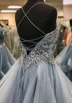 Beading Long Prom Dress with Lace up Back, Popular Evening Dress ,Fash – PromDressForGirl