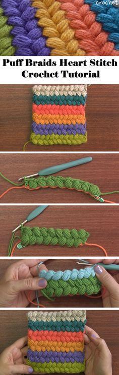 Puff Braids Heart Stitch – Crochet Tutorial