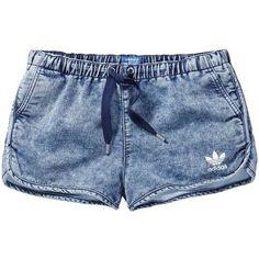 adidas DENIM SHORTS (115 BRL) ❤ liked on Polyvore featuring shorts, bottoms, adidas, jean shorts, denim shorts, adidas shorts and denim short shorts