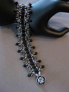 Handmade Black and SilverTila Beaded Bracelet