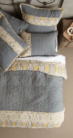 love this grey and yellow bedding http://rstyle.me/n/qritmr9te