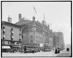 The New York Theatre Company building on Broadway between 44th and 45th Street was built by Oscar Hammerstein in 1894, as the Lyric Theatre. Just across from the Hotel Astor, the large building was decorated in a Louis XVI style and  included a roof garden, billiard room, concert hall, music hall and a theater. It has been known also as the Olympia and the Criterion. The site formerly housed the Seventy-first street armory that was lost to fire. It was demolished in 1935.