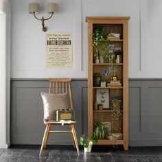 Oakland Tall Slim Bookcase - The Cotswold Company Slim Bookcase, Large Bookcase, Dining Room Furniture, Rustic Furniture, Painting Bookcase, Oak Shelves, Corner Cupboard, Cottage Interiors, Ladder Decor
