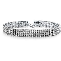 Rhodium Plated 4 Row Rhinestone Bridal Choker Necklace (84 BRL) ❤ liked on Polyvore featuring jewelry, necklaces, choker, accessories, clear, rhodium plated necklace, choker necklaces, sparkly necklace, bridal jewelry and rhinestone choker necklace