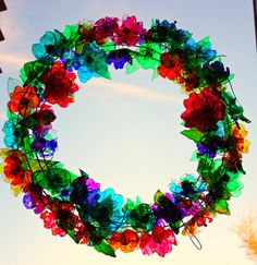 Chihuly inspired Wreath Art summer Rainbow by ArtePlastique, $1000.00