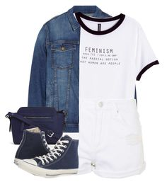 """""""Untitled #1082"""" by littledeath11 ❤ liked on Polyvore featuring Current/Elliott, H&M, Topshop, Liz Claiborne and Converse"""