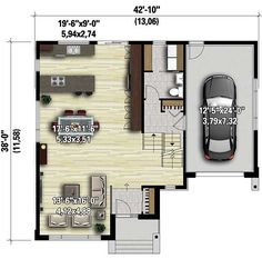 <!-- Generated by XStandard version 2.0.0.0 on 2015-08-04T16:04:20 --><ul><li>Big windows with transoms above and a hip roof present a polished look to this Modern house plan.</li><li>The sunken foyer has only one step up to the main living area that offers sweeping views thank to the open layout.</li><li>A half bath and laundry room lie on the ground level by the garage.</li><li>Climb a short flight of stairs to the bedroom...