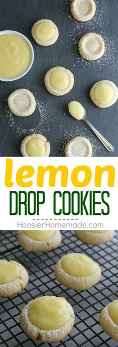 Lemon Drop Cookies buttery cookies filled with homemade lemon curd Perfect for Easter Dessert a Spring treat and are perfect for a baby or bridal shower Pin to your Reci. Lemon Desserts, Köstliche Desserts, Lemon Recipes, Delicious Desserts, Dessert Recipes, Yummy Food, Lemon Drop Cookies, Desserts Ostern, Spring Treats
