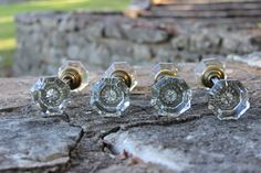 Vintage Octogon 2 Large Handle Glass Door Knob 2 Sets For Two Doors Cottage Nursery on Etsy, $130.00