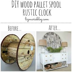 DIY Farmhouse Style Decor Ideas - DIY Wood Pallet Spool Rustic Clock - Rustic Ideas for Furniture, Paint Colors, Farm House Decoration for Living Room, Kitchen and Bedroom Pallet Clock, Pallet Wall Art, Pallet Furniture, Rustic Furniture, Furniture Ideas, Furniture Movers, Antique Furniture, Outdoor Furniture, Furniture Nyc
