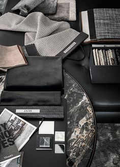 ~ Living a Beautiful Life ~ Materials by Lorenzo Pennati, via Behance, grey and black mood board, interior design Interior Design Boards, Bathroom Interior Design, Yacht Design, Moodboard Interior, Living Style, Web Design, Design Color, Mood And Tone, Mood Images