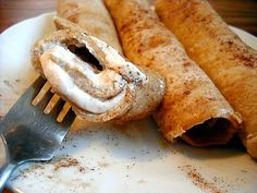 Peanut Butter Crepes with Cinnamon Cream Cheese Filling - Low carb keto