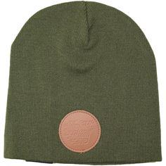 Leather Patch Skullcap Beanie
