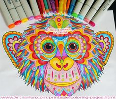 Printable chimp coloring page by Thaneeya McArdle