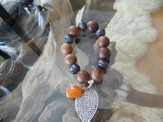Warm Wood and Metal Large Bead Bracelet with Double by ElliTs