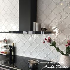 tiles Backsplash Vintage Lantern x Ceramic Field Tile in White Kitchen Shelves, Kitchen Tiles, Kitchen Decor, Kitchen Design, Gray Kitchen Backsplash, Kitchen Cupboard, Arabesque Tile Backsplash, Ceramic Wall Tiles, Mosaic Wall