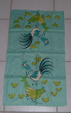 Vintage Signed Vera Neumann Linen Kitchen Towel Rooster Chicken Chicks Ladybug