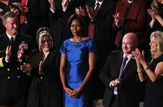 Michelle Obama wore a sapphire dress by Barbara Tfank