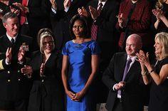 Michelle Obama wore a sapphire dress by Barbara Tfank