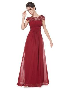 Pure Color Lace Splicing O-neck Long Prom Party Dress