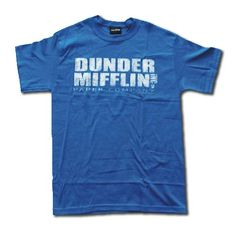 THE OFFICE Dunder Mifflin Paper Company Distressed Logo Mens Blue T Shirt Size Large