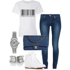 A fashion look from September 2016 by springitontees featuring 7 For All Mankind, NIKE, Chanel and Rolex Chill Outfits, Swag Outfits, Cute Casual Outfits, Casual Chic, Stylish Outfits, Fashion Outfits, Womens Fashion, Fashion Tips, Cute Fashion