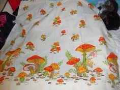 Vintage curtains Orange mushrooms 1960s 1970s by AuntBonniesCloset, $20.00