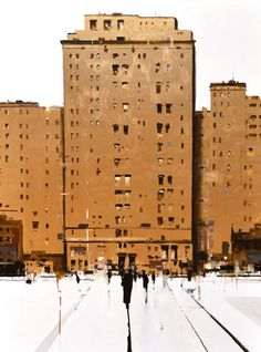 """Geoffrey Johnson, """"Three Buildings in Gold"""" - 48x36, oil on panel --at Principle Gallery"""