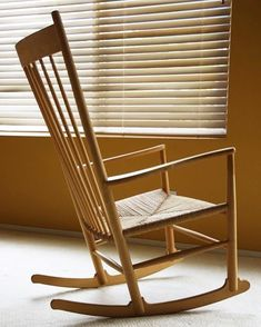"""Rocking Chair"""", Wegner stresses the importance of freedom of movement in this design. The chair was introduced by FDB Furniture in 1944 and has been in production ever since. Plywood Furniture, Mod Furniture, Shaker Furniture, Danish Furniture, Furniture Design, Danish Chair, Wooden Rocking Chairs, Woven Chair, Camping Chairs"""