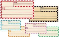 Etiquetas imprimibles inspiradas en las de mensajería