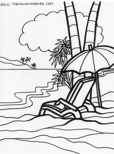 Island Relaxing Coloring Page