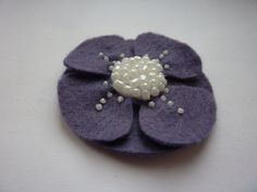 Purple flower felt brooch by CreatedWithLoveuk on Etsy, £8.00