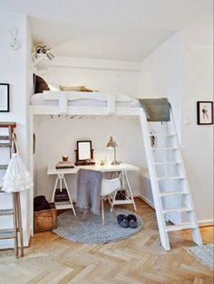 Trendy home office quarto beliche Ideas Bunk Bed Designs, Small Bedroom Designs, Small Room Bedroom, Bedroom Loft, Trendy Bedroom, White Bedroom, Bedroom Colors, Small Rooms, Small Apartments