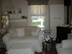 Living room from A Shabby Moment In Time.  I can relate.  My living room is tiny too :).